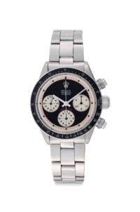 """Rolex. An Extremely Rare and Important Stainless Steel Chronograph Wristwatch with Bracelet and Black """"Paul Newman Mark 1 Oyster Sotto Daytona"""" Dial"""